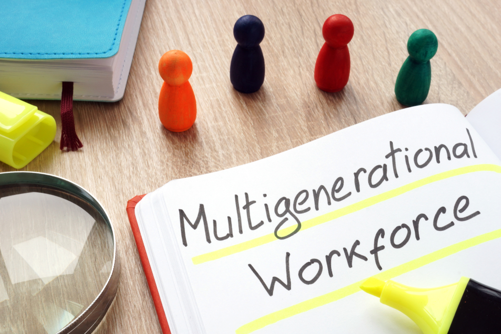 Graphic showing how with multi-skilled and multi-generational workforces, effective workforce management is needed.